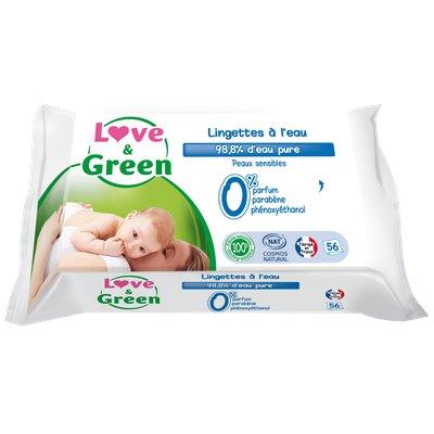 Lingettes à l'eau biodégradable et compostable pour bébé - Love & Green - Visage - Hygiène - Bébé / Enfants - Corps