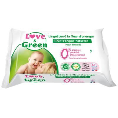 Lingettes à la fleur d'oranger bio pour bébé - Biodégradable & Compostable - Love & Green - Santé - Hygiène - Bébé / Enfants - Corps - Visage