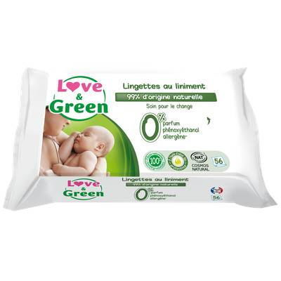 Lingettes au Liniment pour bébé - Biodégradables & compostables - Love & Green - Santé - Hygiène - Bébé / Enfants - Corps