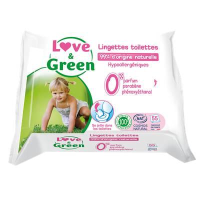 Lingettes Toilettes pour bébé - Biodégradable & compostable - Love & Green - Santé - Hygiène - Bébé / Enfants