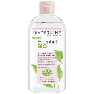 eau micellaire rafraîchissante (Flacon 400ml) - Diadermine Essentiel Bio - Visage