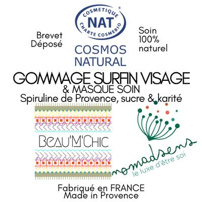 GOMMAGE SURFIN VISAGE & MASQUE SOIN A LA SPIRULINE DE PROVENCE - NOMADSENS - Visage