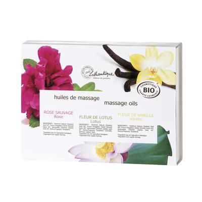 Coffret 3 huiles de massage 30 ml - LOTHANTIQUE BIO - Massage et détente