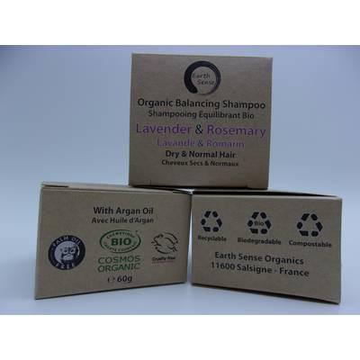 Shampoing Solide Equilibrant - Lavande & Romarin - Cheveux secs et tous types de cheveux - Earth Sense - Cheveux