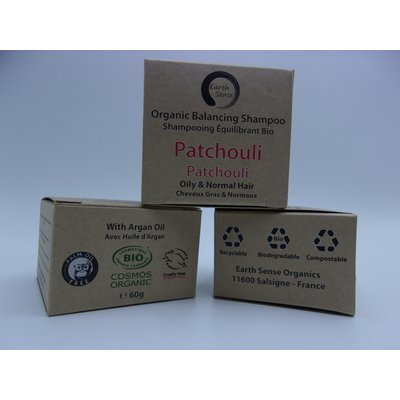 Shampoing Solide Equilibrant - Patchouli - Cheveux gras et tous types de cheveux - Earth Sense - Cheveux