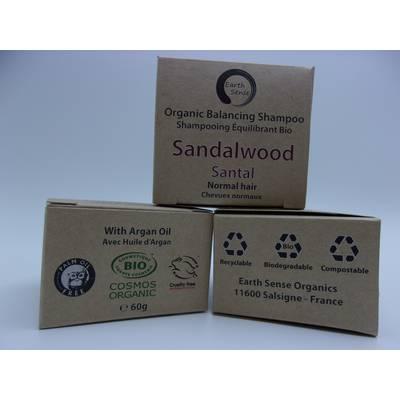 Shampoing Solide Équilibrant - Bois de Santal - Cheveux normaux et tous types - Earth Sense - Cheveux