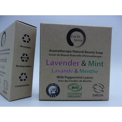 Solid Soap - Lavender & Mint with Shredded Mint Leaves - Earth Sense - Hygiene