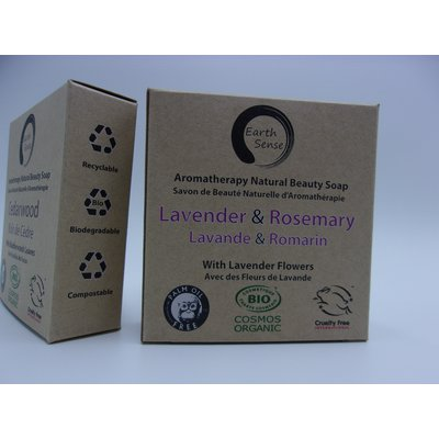 Solid Soap - Lavender & Rosemary with Lavender flowers - Earth Sense - Hygiene
