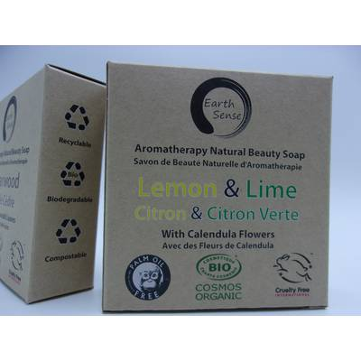 Solid Soap - Lemon & Lime with Calendula Flowers - Earth Sense - Hygiene