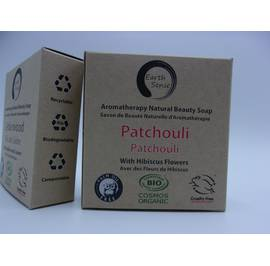 image produit Solid soap - patchouli with hibiscus flowers