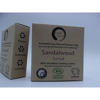 Solid Soap - Sandalwood with Shredded Comfrey Leaves - Earth Sense - Hygiene