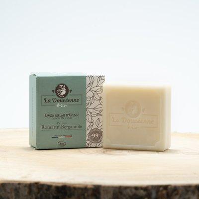 Savon lait d'ânesse BIO Romarin Bergamote 98 grs - LA DOUCEENNE - Hygiène