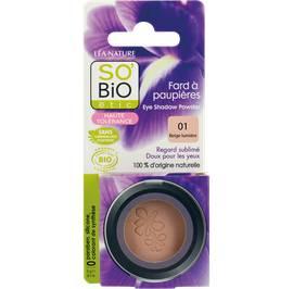 Fard à paupières, haute tolérance - 01 beige lumière - So'bio étic - Maquillage