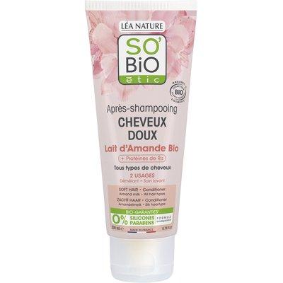 Après-shampooing cheveux doux - Lait d'amande et protéines de riz - So'bio étic - Cheveux