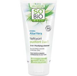 Nettoyant purifiant 3 en 1, peaux mixtes à grasses - Hydra Aloe Vera - So'bio étic - Visage