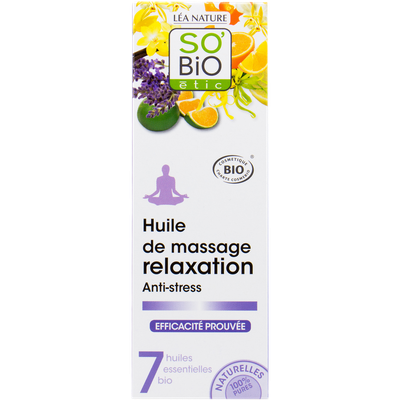 Relaxing and anti-stress massage oil with 7 organic essential oils - So'bio étic - Massage and relaxation