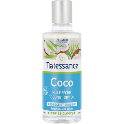 Coconut dry oil - Certified Organic - Natessance - Face - Body - Hair