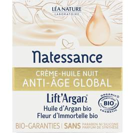 Global anti-aging night creamy oil - Lift'Argan - Natessance - Face