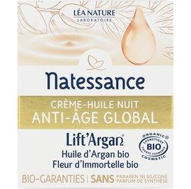 Global anti-aging night creamy oil - Lift'Argan - Natessance - Face