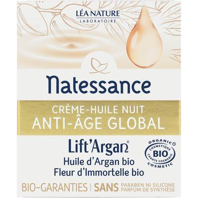 Crème huile nuit anti-âge global - Lift'Argan - Natessance - Visage