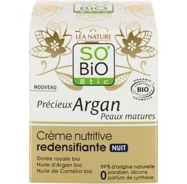 Crème nutritive redensifiante nuit - Précieux Argan Peaux Matures - So'bio étic - Visage