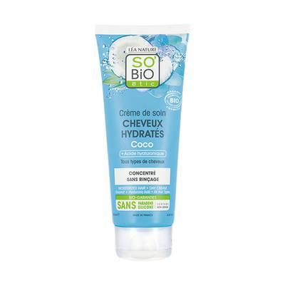 Crème de soin cheveux hydratés - coco & acide hyaluronique - So'bio étic - Cheveux