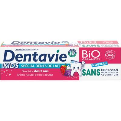 Dentifrice Kids - Dès 2 ans - arôme naturel fruits rouges - Dentavie - Hygiène