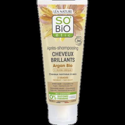 Après-shampooing cheveux brillants -  Argan bio + acide oléique - So'bio étic - Cheveux