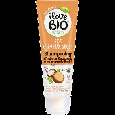 Shampooing SOS cheveux secs - Huile de macadamia et beurre de karité - I Love Bio by Léa Nature - Cheveux
