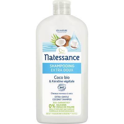 Shampooing extra doux - coco bio & kératine végétale - Natessance - Cheveux