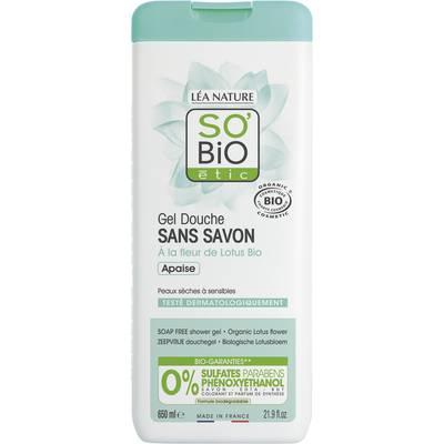 Gel Douche Sans Savon - Apaise - A la fleur de Lotus Bio - So'bio étic - Hygiène