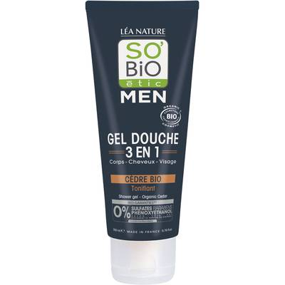 Gel Douche 3 en 1 Men - Cèdre Bio tonifiant - So'bio étic - Hygiène