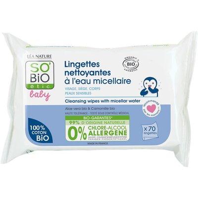 Lingettes nettoyantes - Eau micellaire - Visage-Siège-Corps - Haute tolérance - So'bio étic - Bébé / Enfants