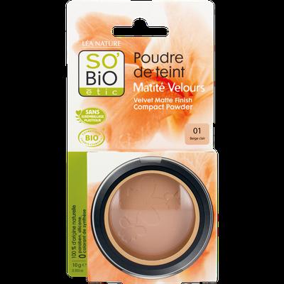 Poudre de teint matité velours - 01 beige clair - So'bio étic - Maquillage