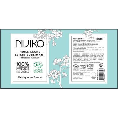 Huile Sèche Elixir Sublimant Monoï Coco - NIJIKO - Visage - Cheveux - Corps