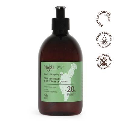 Savon d'Alep liquide 20% huile de figues de Barbarie - Najel - Hygiène - Cheveux