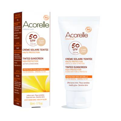 Crème solaire teintée SPF 50 - ACORELLE - Solaires