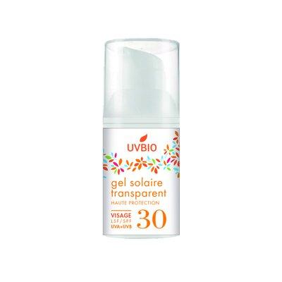Gel solaire SPF 30 transparent visage - UVBIO - Solaires