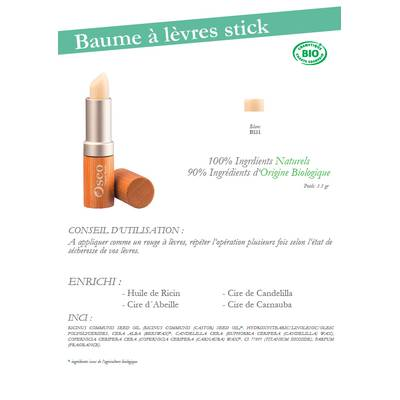 Baume à lèvres stick - Oseo Organic Beauty - Maquillage