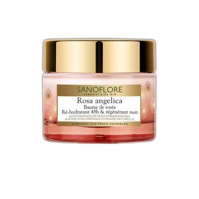 Baume de rosée Rosa Angelica ré-hydratant 48h et régénérant nuit - Sanoflore - Visage