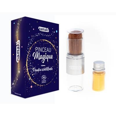 Poudre scintillante dorée et son pinceau magique - Namaki - Cheveux - Corps - Maquillage