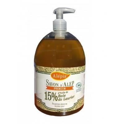 Savon d'Alep liquide Premium 15 % 500 ml - ALEPIA - Visage