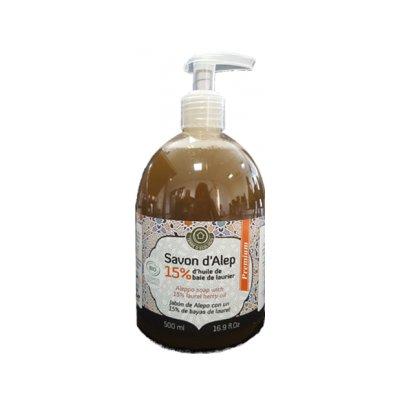 Savon Alep Liquide Premium 15% Laurier - TERRE D'ECOLOGIS - Visage - Hygiène - Corps