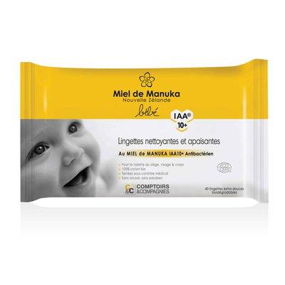 Lingettes nettoyantes & apaisantes bébé miel de manuka IAA10+ - Comptoirs et Compagnies - Bébé / Enfants