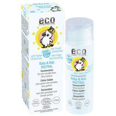 Baby & Kids Crème solaire indice 50+ neutre - Eco cosmetics - Solaires