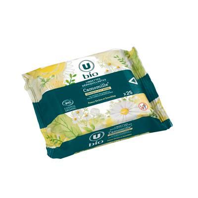 Lingettes démaquillantes peaux sèches et sensibles Camomille - U BIO - Visage