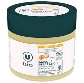 Masque nutrition cheveux secs à l'extrait d'amande douce et à l'huile d'argan U BIO - U BIO - Cheveux