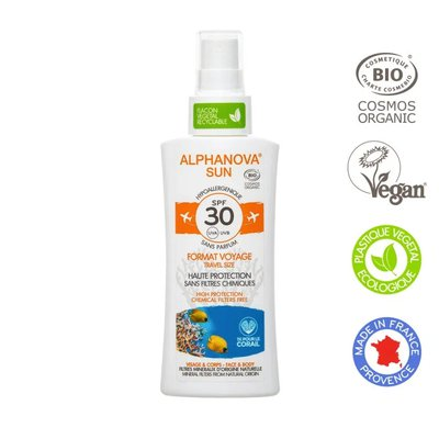 Crème solaire hypoallergénique format voyage SPF30 - ALPHANOVA SUN - Solaires