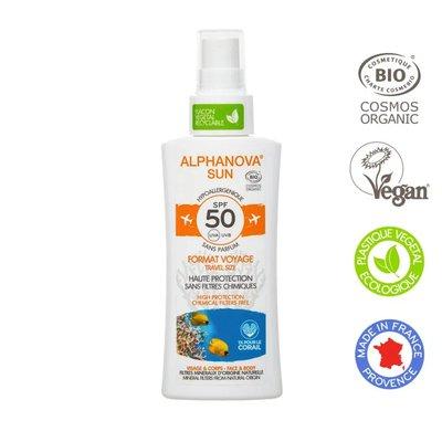Crème solaire hypoallergénique format voyage SPF50 - ALPHANOVA SUN - Solaires