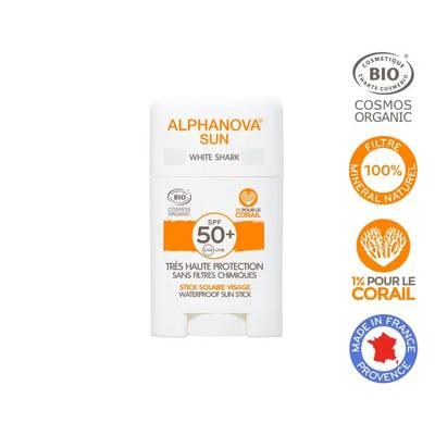 Stick solaire blanc très haute protection visage SPF50+ - ALPHANOVA SUN - Solaires